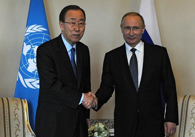 Secretario general de la ONU, Ban Ki-moon y presidente de Rusia, Vladímir Putin
