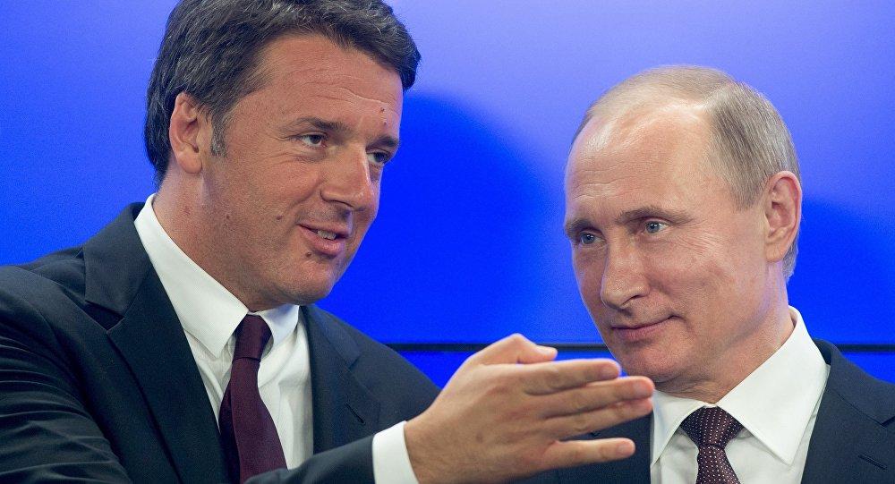 Pimer ministro de Italia, Matteo Renzi y presidente de Rusia, Vladímir Putin