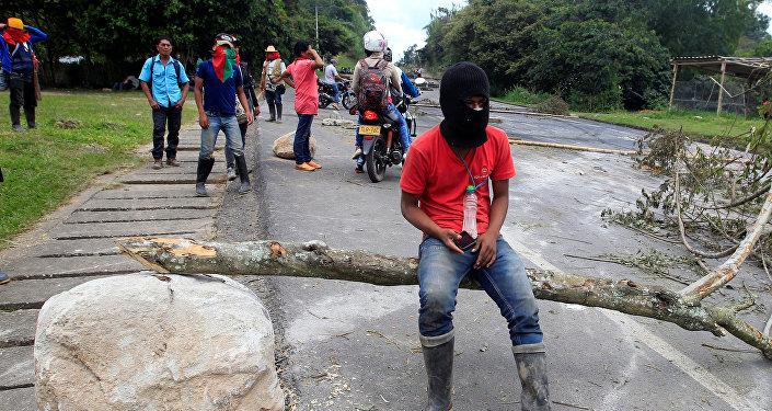 Indígenas colombianos durante una protesta contra el Gobierno (archivo)
