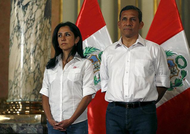 Ollanta Humala, expresidente de Perú, junto a su esposa, Nadine Heredia (archivo)
