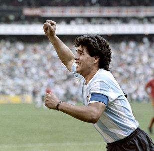 Futbolista Diego Maradona durante la Copa Mundial 1986