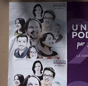 Cartel electoral de Unidos Podemos en Ronda, España