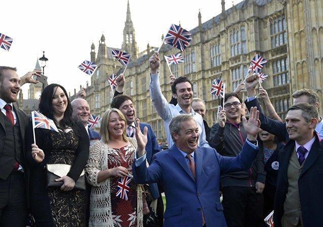 Celebraciones de los resultados en Londres