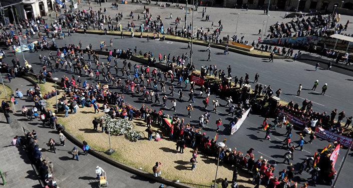 Protesta de trabajadores en Bolivia