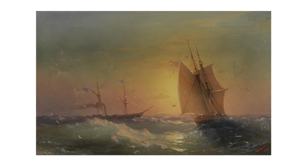 Картина Айвазовского Shipping at Sunset, 1860