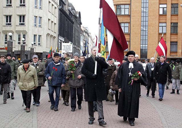 La marcha de veteranos de las Waffen SS en Letonia