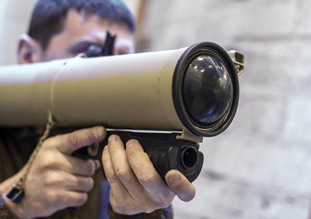 Un lanzallamas Shmel-M en la exposición de las armas rusas Interpolitech-2015