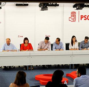 La reunión de miembros del PSOE en su sede en Madrid tras las elecciones generales