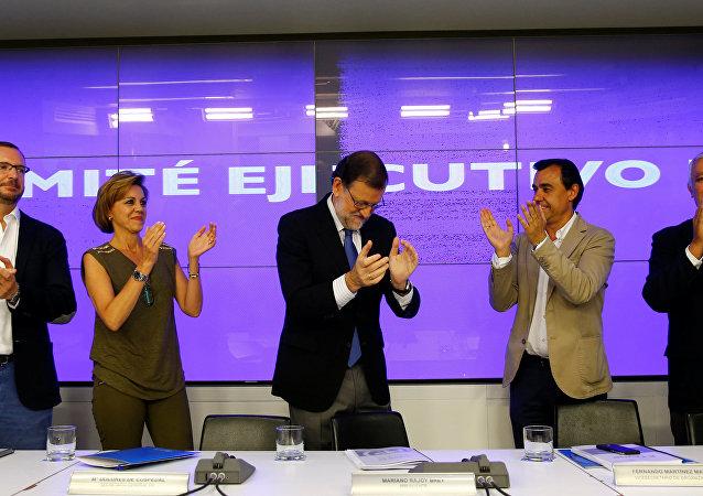 Mariano Rajoy, líder del Partido Popular, en una reunión del comité ejecutivo del partido en su sede en Madrid