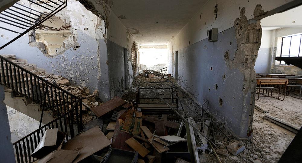 Un edificio destruido en Idlib, Siria