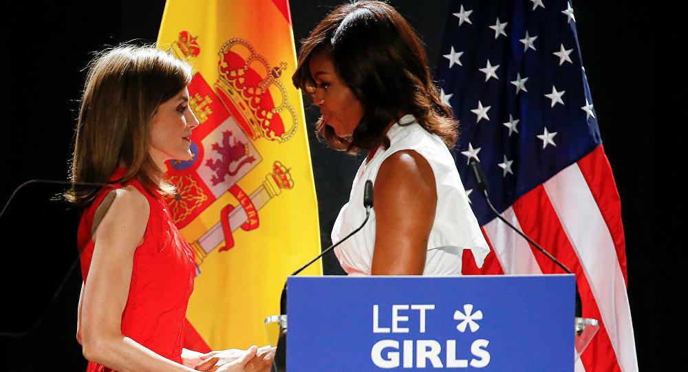 Michelle Obama, primera dama estadounidense, y Letizia, Reina de España durante la presentación de la iniciativa 'Lets Girls Learn'