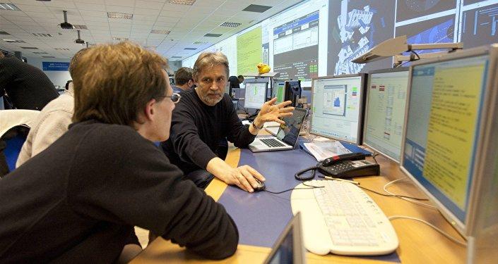 Sala de control del detector ATLAS del Gran Colisionador de Hadrones