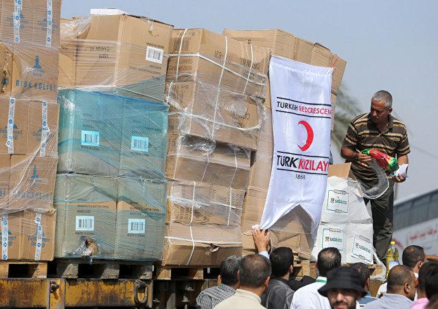 Ayuda humanitaria turca llega a Gaza
