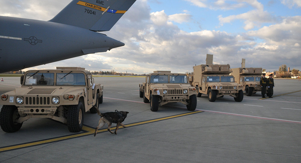 La ceremonia de la entrega de los radares estadounidenses a Ucrania