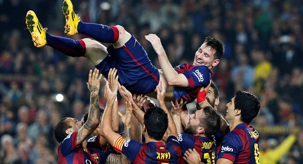 Lionel Messi y jugadores del Barça
