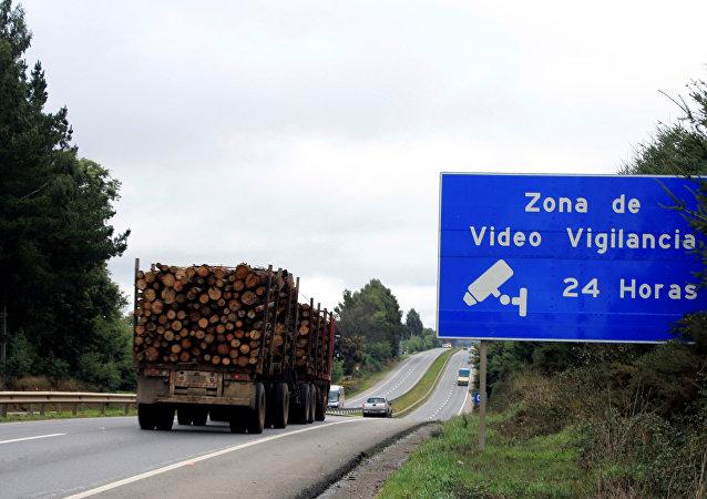 Un camión de madera en la región chilena de La Araucanía