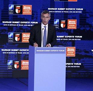 Jens Stoltenberg, el secretario general de la OTAN, duurante la cumbre de la Alianza en Varsovia, Polonia