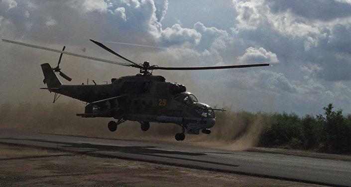 Un helicóptero ruso Mi-24, versión de base del Mi-25