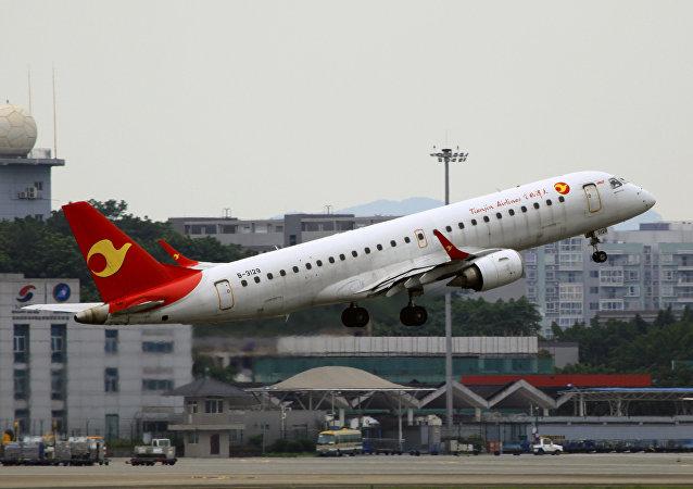 El avión de la aerolínea china Tianjin Airlines