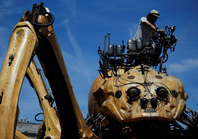 The giant mechanical spider Kumo Ni created by La Machine production company is seen during its presentation in Nantes