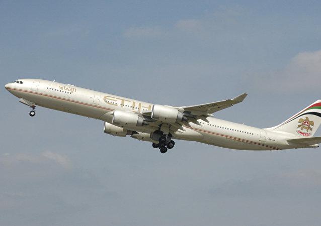 Airbus A340-500 de la aerolínea Etihad Airways (archivo)