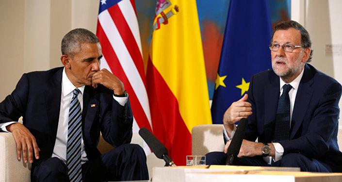 El presidente de EEUU Barack Obama y el jefe del Ejecutivo en funciones, Mariano Rajoy, durante reunión en el palacio de Moncloa