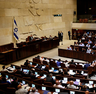 A general view shows the plenum during a session at the Knesset, the Israeli parliament, in Jerusalem July 11, 2016.