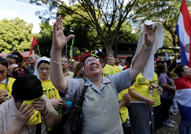 Una manifestación en Asunción, Paraguay