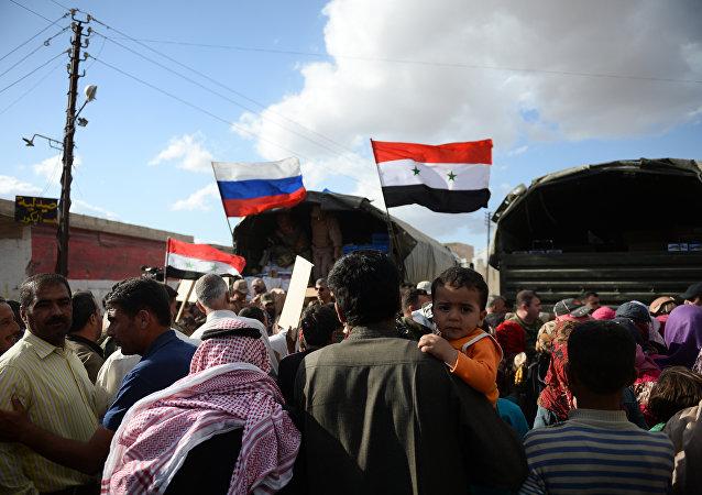 Entrega de ayuda humanitaria rusa en Siria