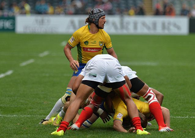Un partido de rugby, foto referencial