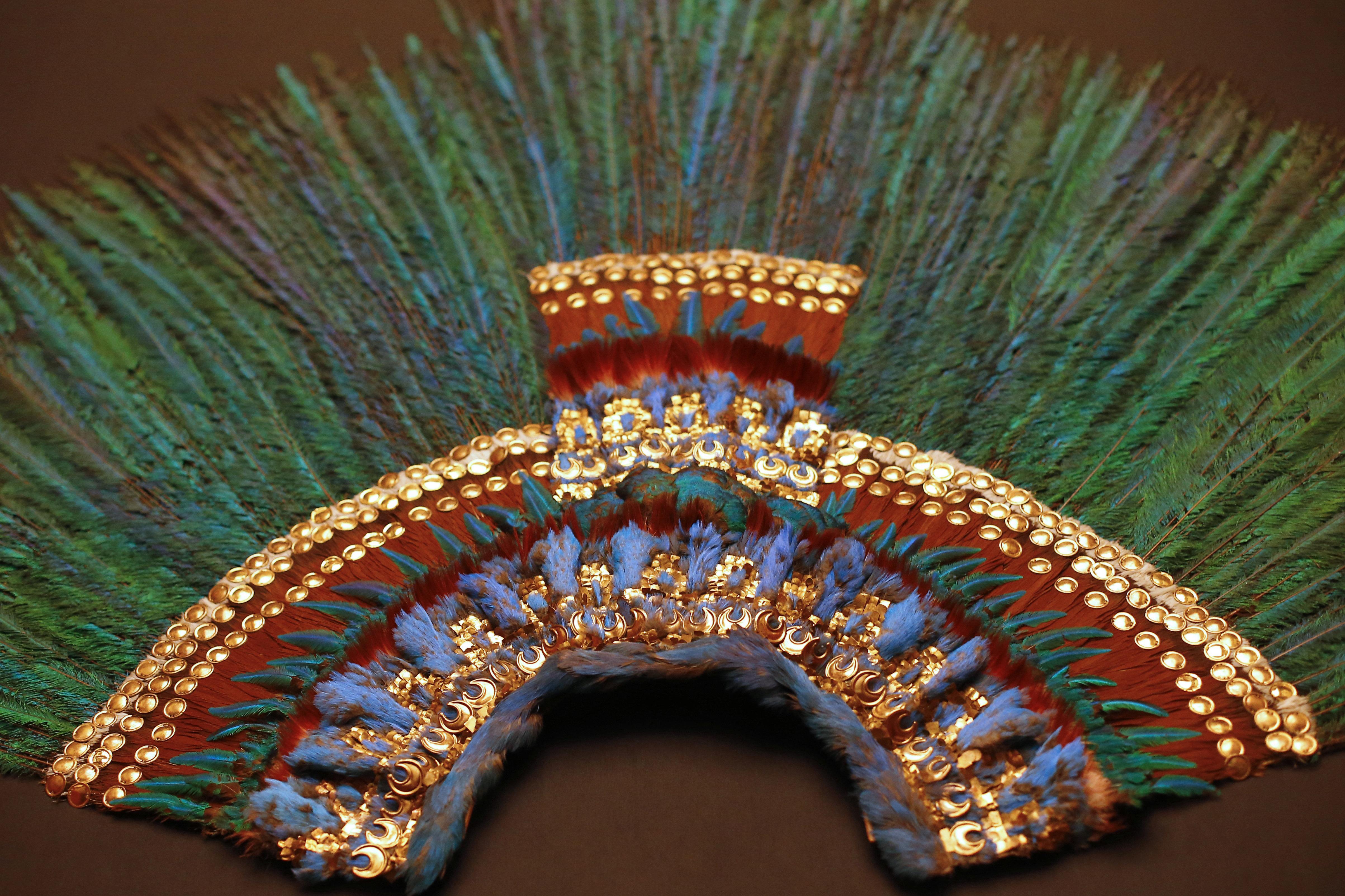 El penacho de Moctezuma II, el Museo de Etnología de Viena, Austria