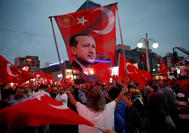Una manifestación en apoyo del presidente de Turquía, Tayyip Erdogan