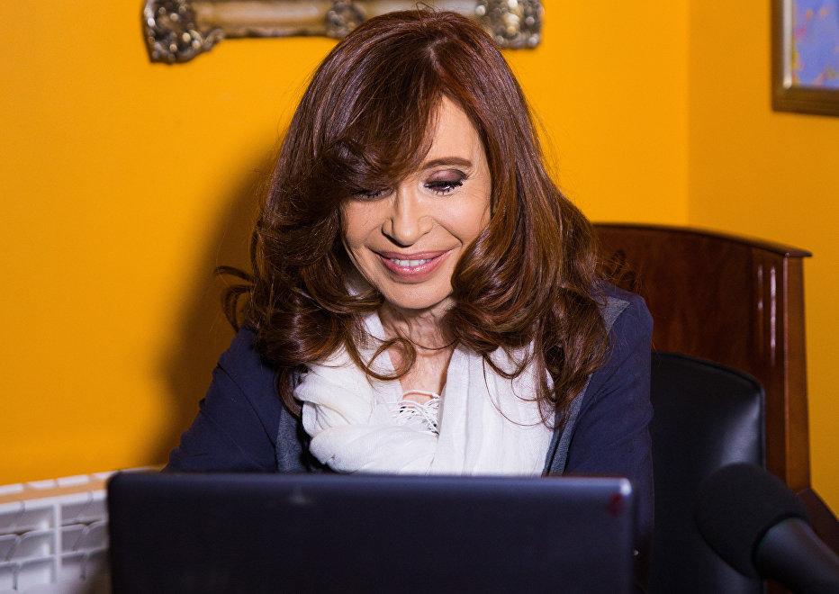 Cristina Kirchner en su casa de El Calafate.