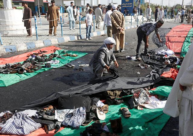 Víctimas del atentado en Kabul, Afghanistan, 23 de julio de 2016