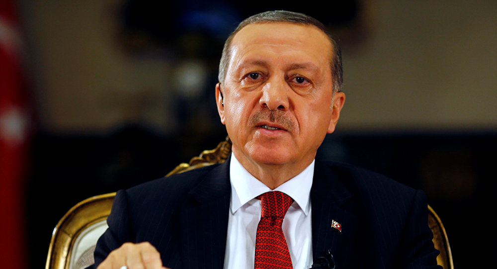 Turkish President Tayyip Erdogan attends an interview with Reuters at the Presidential Palace in Ankara, Turkey