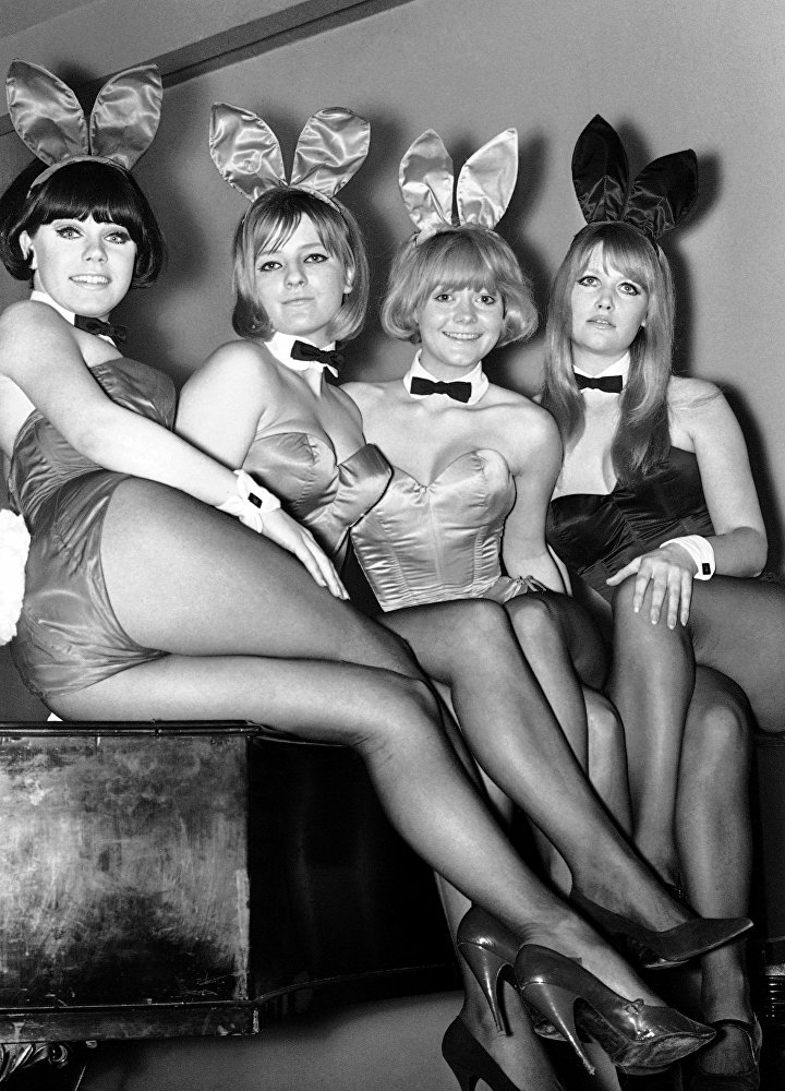 Playboy Magazine's British bunnies will open this summer the 15th Playboy Club in a ten-storey building on London's Park Lane, Here are four of the first fifty bunny girls selected in London on Feb. 12, 1966. From left, Patty, Sally, Anna, and Dean