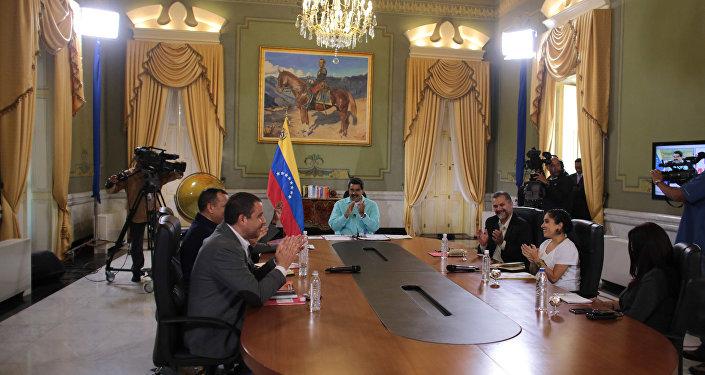 Nicolás Maduro, presidente de Venezuela, durante la reunión  de cancilleres de Colombia y Venezuela