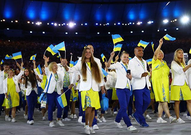 La selección nacional de Ucrania en la ceremonia de inauguración de los JJOO en Río