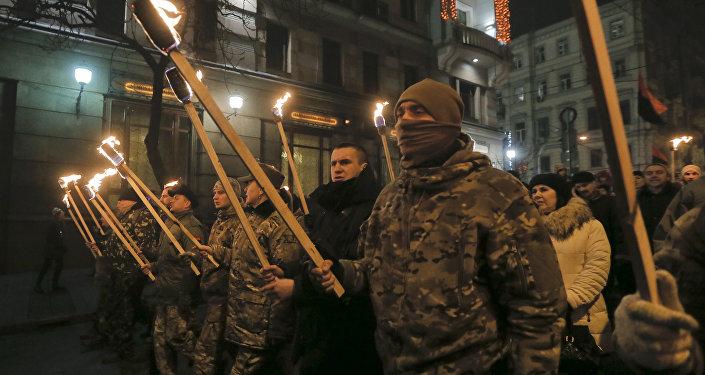 Una marcha de los nacionalistas en Kiev