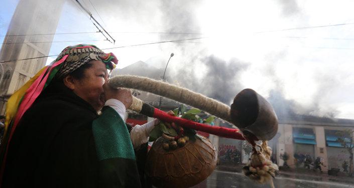 Una mujer mapuche durante protestas en Chile
