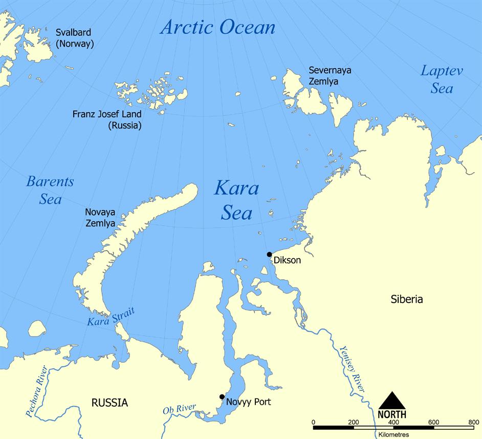Localización del mar de Kara