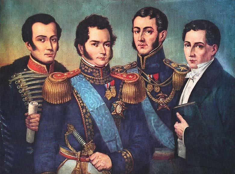 Retrato póstumo de los fundadores de la República de Chile. De izquierda a derecha: José Miguel Carrera, Bernardo O'Higgins, José de San Martín, Diego Portales.
