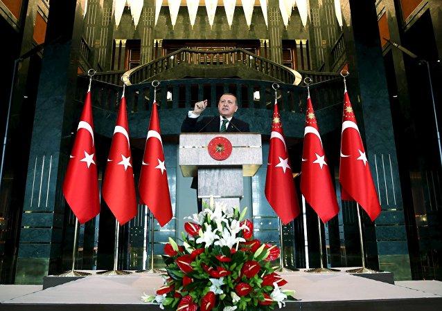 El mandatario turco Tayyip Erdogan en el palacio presidencial