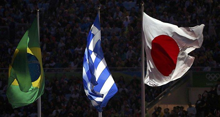 Banderas de Brasil, Grecia y Japón