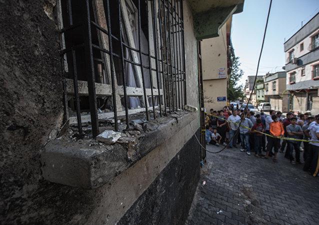 El lugar de atentado en Gaziantep