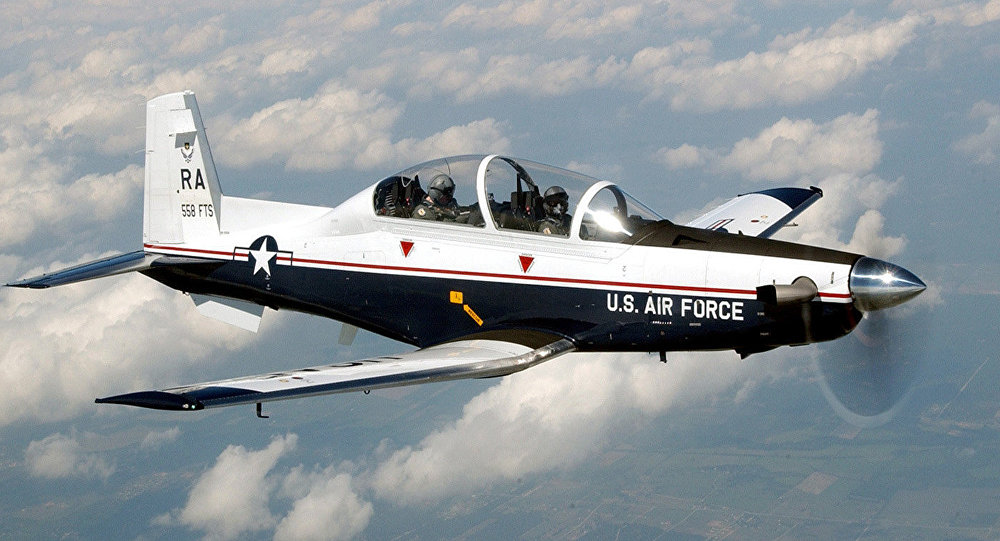 La aeronave estadounidense T6-C Texan II