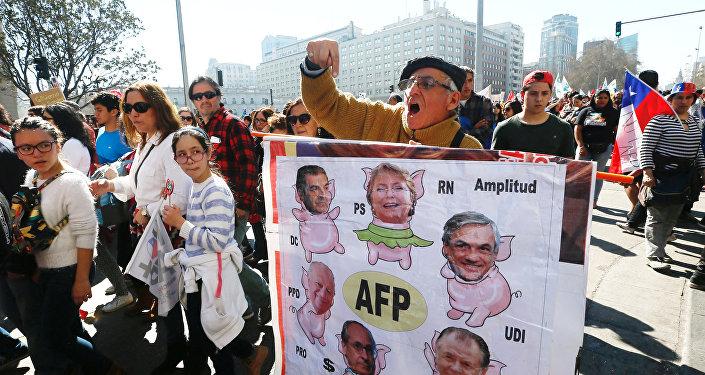 Una protesta en Chile