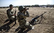 Soldados turcos en la fronte con Siria