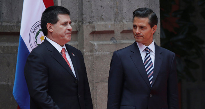 Presidente de Paraguay, Horacio Cartes, y presidente de México, Enrique Peña Nieto