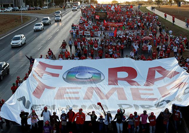 Protesta contra Michel Temer, el presidente interino de Brasil (archivo)